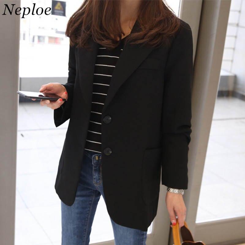 Neploe Fashion Women Blazers and Jackets Work Office Lady Suit Slim Black Single Button Business Female Blazer 35760