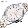 Amantes longbo casal de aço inoxidável relógios de quartzo reloj casuais masculino relógio de pulso com data do calendário à prova d' água 80085