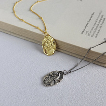 Silvology 925 Sterling Silver Christian Jesus Necklace Irregular Design Elegant Temperament Female Pendant Jewelry