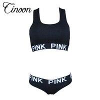 2016 Women Fitness Workout Seamless Sexy Underwear Women Bra Set Patchwork Sexy Vs Pink Lingerie Unlined