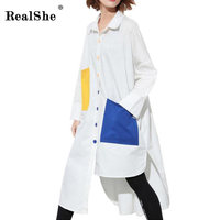 RealShe Brand Dress Summer Women High Quality Lepal Asymmetrical Dress Casual Long Sleeve Pockets Women S