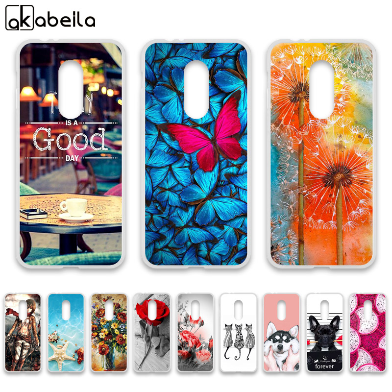 AKABEILA Case For Alcatel 3L 5034D Cases Silicone Flexible Nutella Flamingo Flower Cover For Alcatel 3 5052Y 5052D Covers Fundas