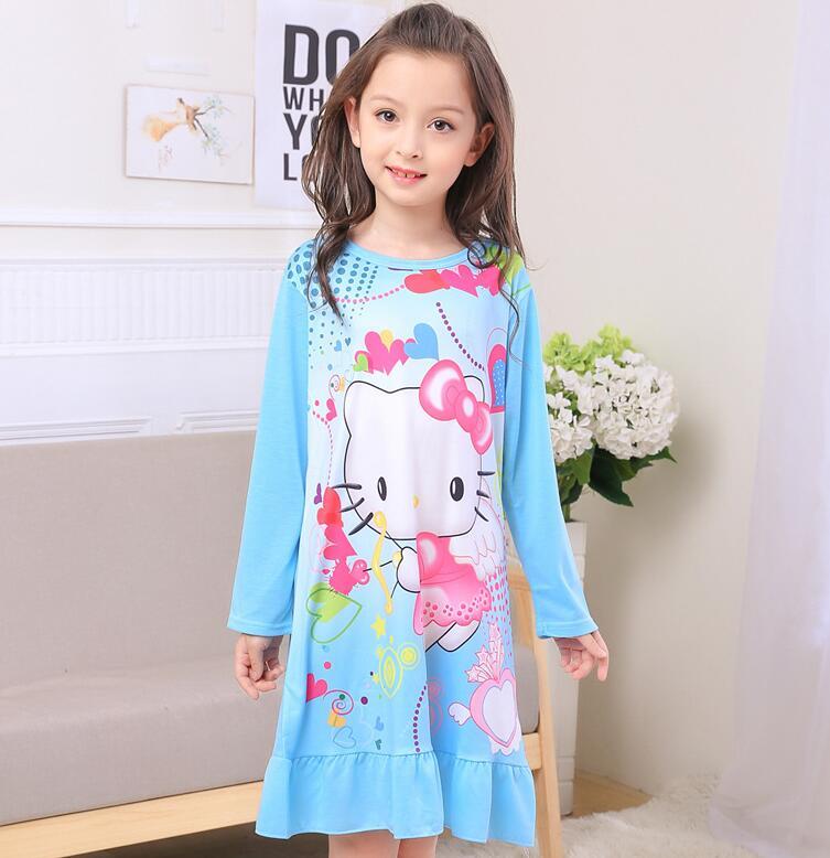 3-11Y Girls Nightgown children clothing Knitting cotton long sleeved pajamas dress Cute kids Homewear Nightdress Clothing NNS159
