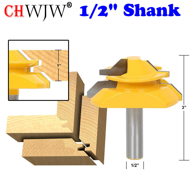 1pc Large Lock Miter Router Bit - 45 Degree - 1 Stock - 1/2 Shank Tenon Cutter for Woodworking Tools- Chwjw 15122 2pcs 1 2 shank lock miter router bit tenon milling cutter for woodworking cutter tool cutting tools tenon cutter