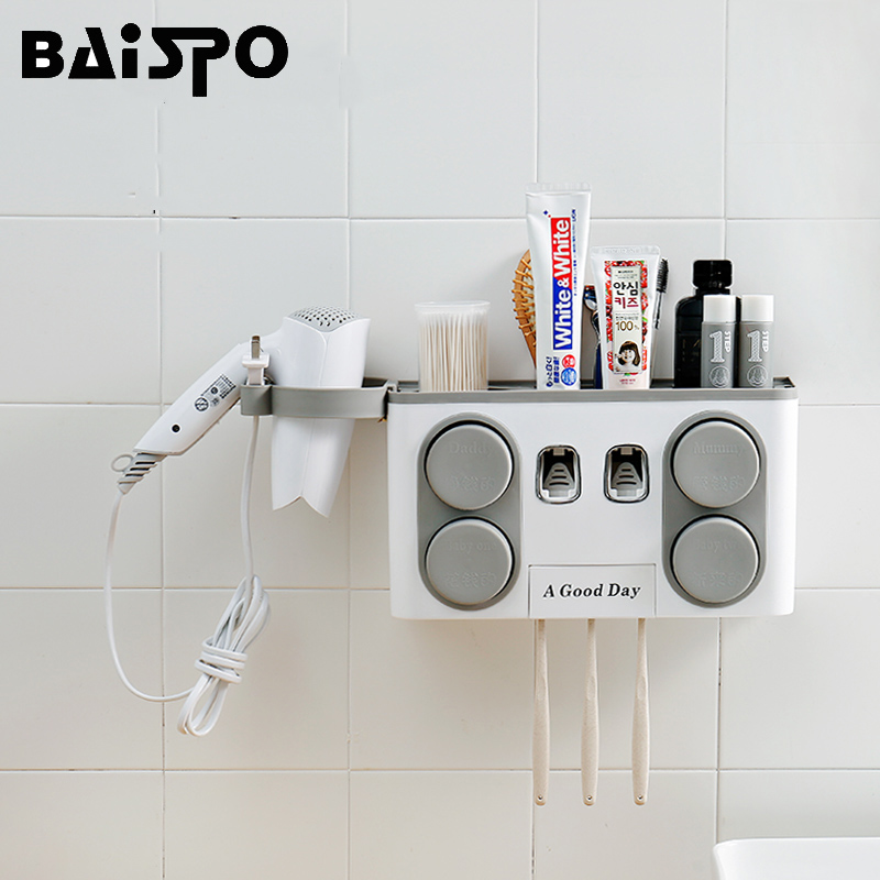 BAISPO Bathroom Set Accessories Toothbrush Holder Automatic Toothpaste Dispenser Suction Cup Wall Mount Bathroom Storage Box