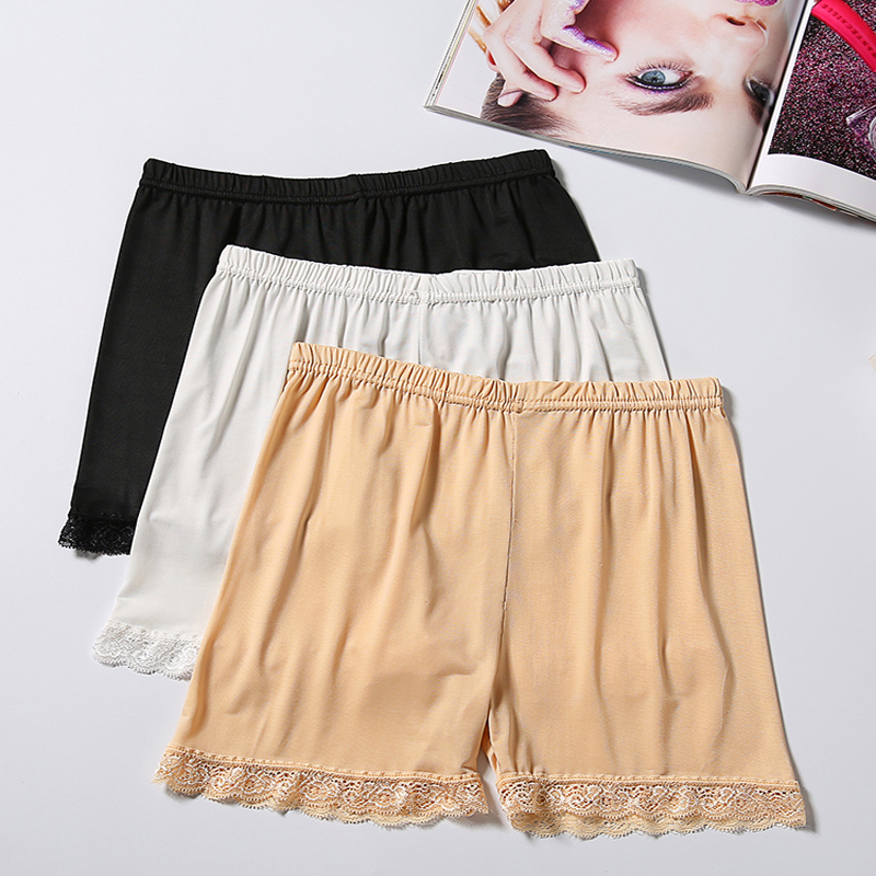 New Women Black Lace Safety Short Pants Under Skirts for Lady Comfortable Lightweight Underwear Breathable Bamboo Panties