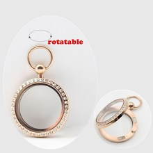 New Arrival! pocket watch design! 30mm magnetic closure rose gold 316L stainless steel living locket with czech crystals