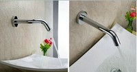 Automatic Sensor Tap Single Hole Inductive Lavatory Faucet For Bathroom Basin Wall Mount 6V Battery Power