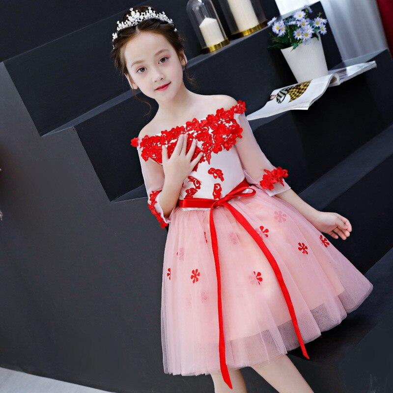 купить Summer New Children Girls Shoulderless Luxury Birthday Evening Party Prom Dress Kids Babies Elegant Piano Tutu Pageant Dress недорого