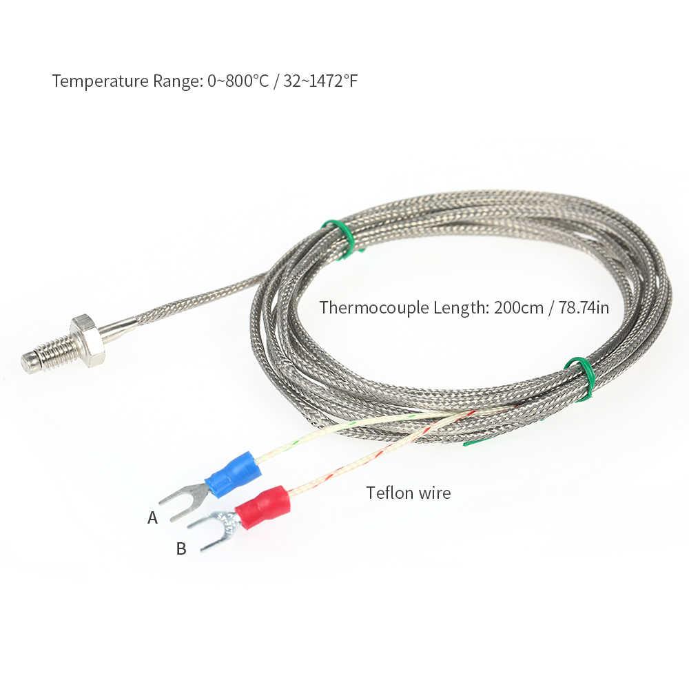 Из нержавеющей стали датчик температуры K Тип термопары байонетная Пружина сжатия с 2 м кабель провода для температурного контроллера