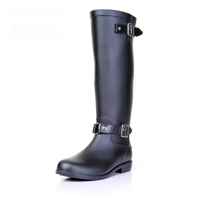 2017 Riding Style Buckle Rain Boots Woman High Red/Black Zipper ...