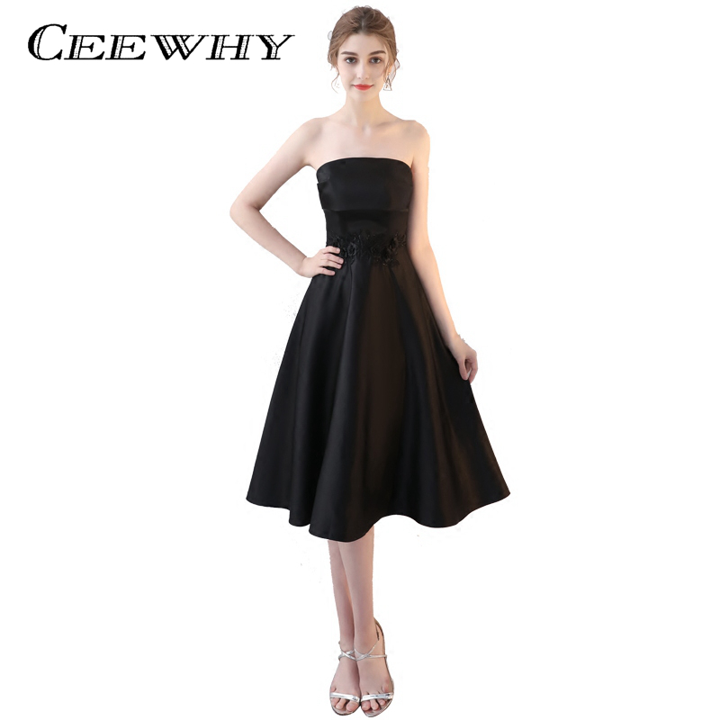 Ceewhy Strapless Little Black Dresses Satin Plus Size Formal Dress