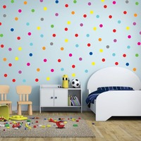 24pcs Rainbow multi color size confetti Polka Dots circles vinyl decals wall Stickers for home decor drop ship