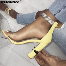 TINGHON  Summer Yellow Sandals Ankle Strap Crystal Pumps Fashion Buckle Strap High Heels Lady Sandals Shoes zapatos mujer все цены