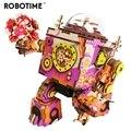 Robotime Begrenzte Edition Bunte Roboter Holz DIY 3D Puzzle Spiel Steampunk Musik Box Spielzeug Geschenk für Kinder Liebhaber Freunde