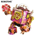 Robotime Edição Limitada Colorido Jogo de Puzzle De Madeira DIY 3D Steampunk Robot Music Box Toy Presente para o Amante Crianças Amigos