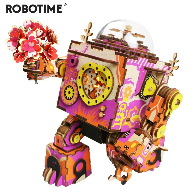 Robotime Limited Edition Colorful Robot Wooden DIY 3D Puzzle Game Steampunk Music Box Toy Gift For Children Lover Friends