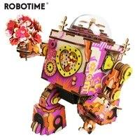 Robotime Sınırlı Sayıda Renkli Robot Ahşap DIY 3D Bulmaca Oyunu Steampunk Müzik Kutusu Oyuncak Çocuklar için Hediye Sevgilisi Arkadaşlar