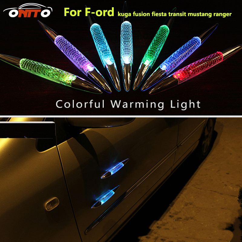 Warning light Colorful car LED light Solar burst flash shark fin anti rub anti collision Lamp door for ford series strobe lamps 10led inside auto car solar powered led flashing car shark fin warning tail lights with controller universal aerial antenna ad