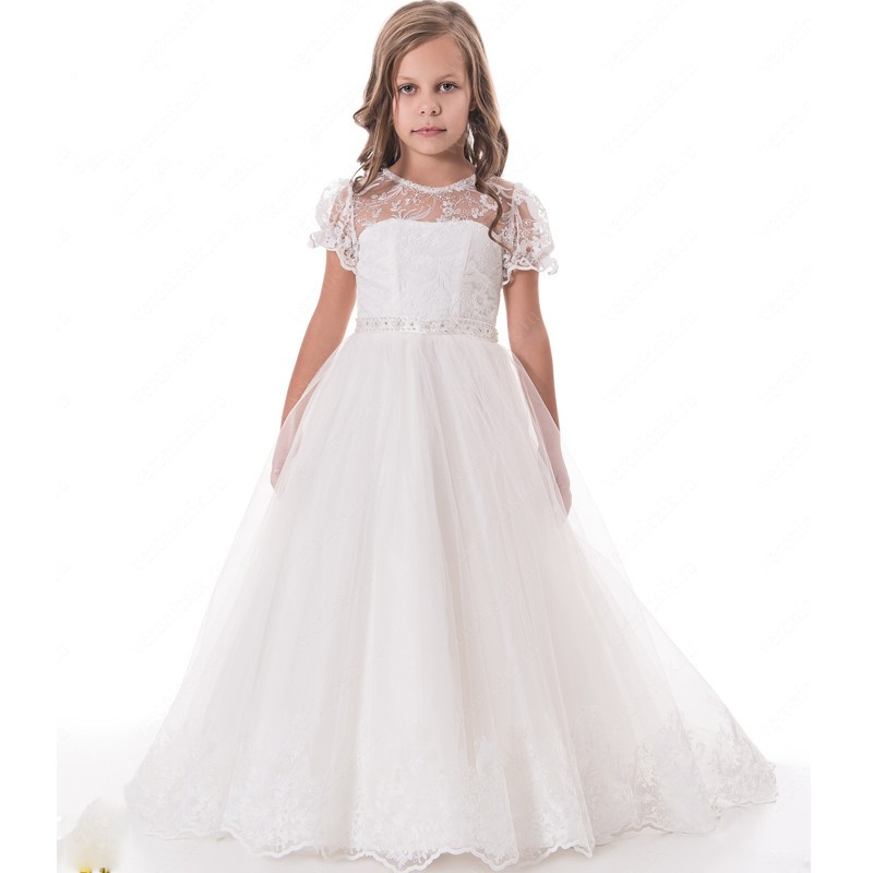 New for Girls Long Communion Gown with Bow Lace Short Sleeves White Ivory Flower Girls Party Dress Vestido