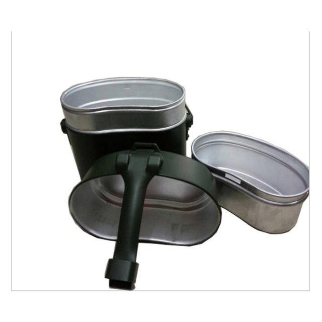Army Lunch Box 3pcs in 1 Outdoor Camping Travel Tablewares WWII Germany Military Mess Kit Canteen Kettle Pot Food Cup Bowl 2