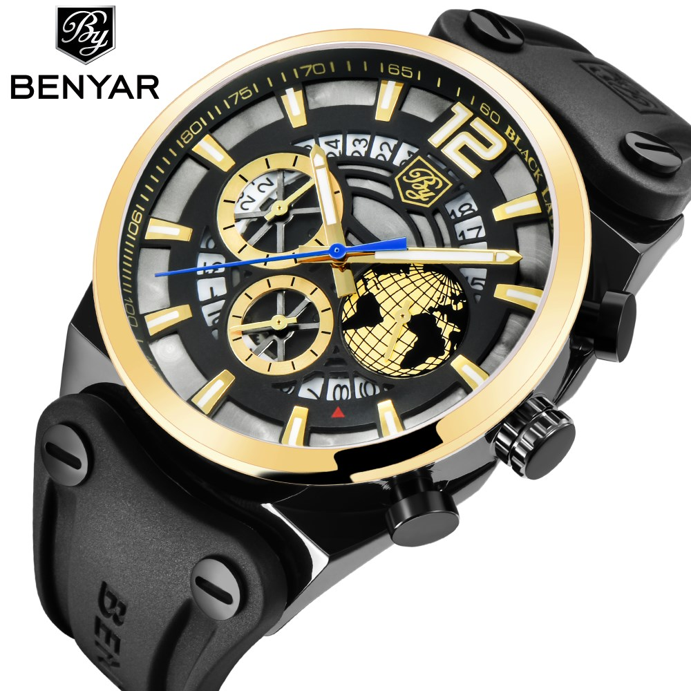 BENYAR Luxury Brand Chronograph Sport Mens Watches Fashion Military Waterproof Quartz Watch Clock Relogio Masculino Dropshipping benyar mens watches top brand luxury design chronograph sport fashion military clock waterproof quartz watch relogio masculino