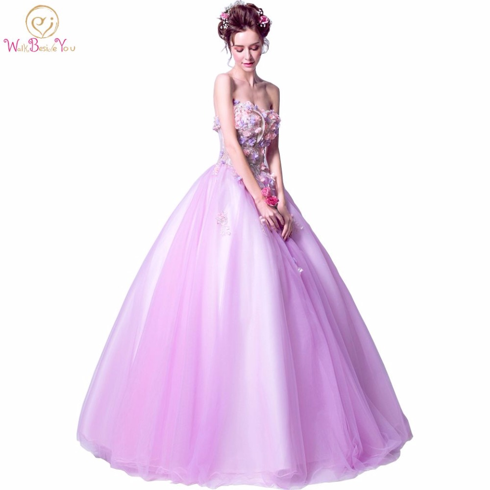 Walk Beside You 100% Real Photo   Prom     Dresses   2017 Ball Gown Lilac Strapless Sweetheart Floral Pearl Lace Applique Evening Gown