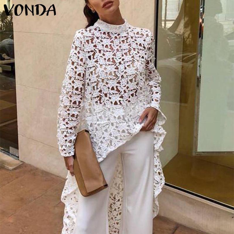 VONDA Women Tops Summer Autumn Irregular Hem Hollow Out White Lace Blouse Long Sleeve Casual Loose Beach Blusas Women's Tunic