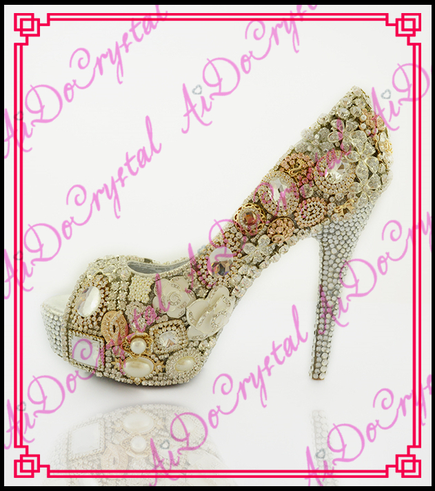 Aidocrystal new design beige crystal diamond high heels wedding font b shoes b font sexy peep