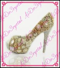 Aidocrystal new design beige crystal diamond high heels wedding shoes sexy peep toe high heels shoes