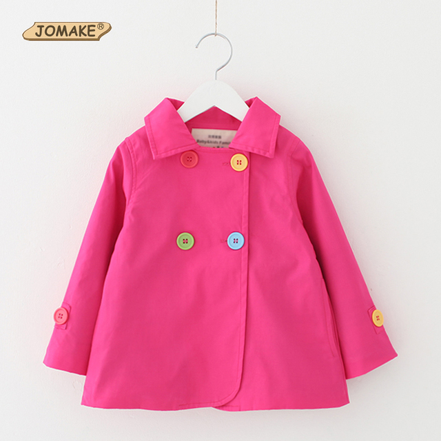 Girls Trench Coats 2017 New Autumn Fashion Colorful Buttons Solid Children Girl Coat Windbreaker Simple Long Sleeve Kids Clothes