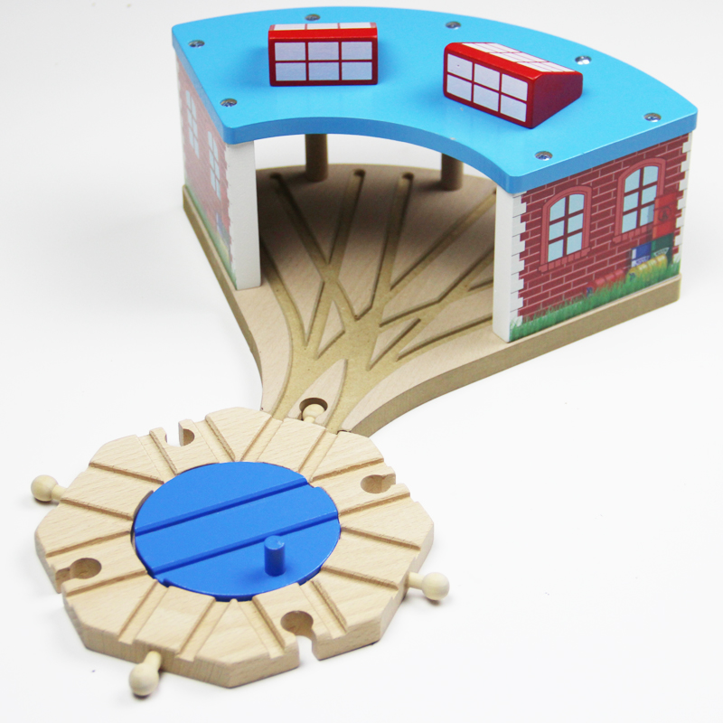 EDWONE  Bend Track And Switch Track Garage Staion Beech Wooden Railway Train Circular Track Accessories Fit For Biro