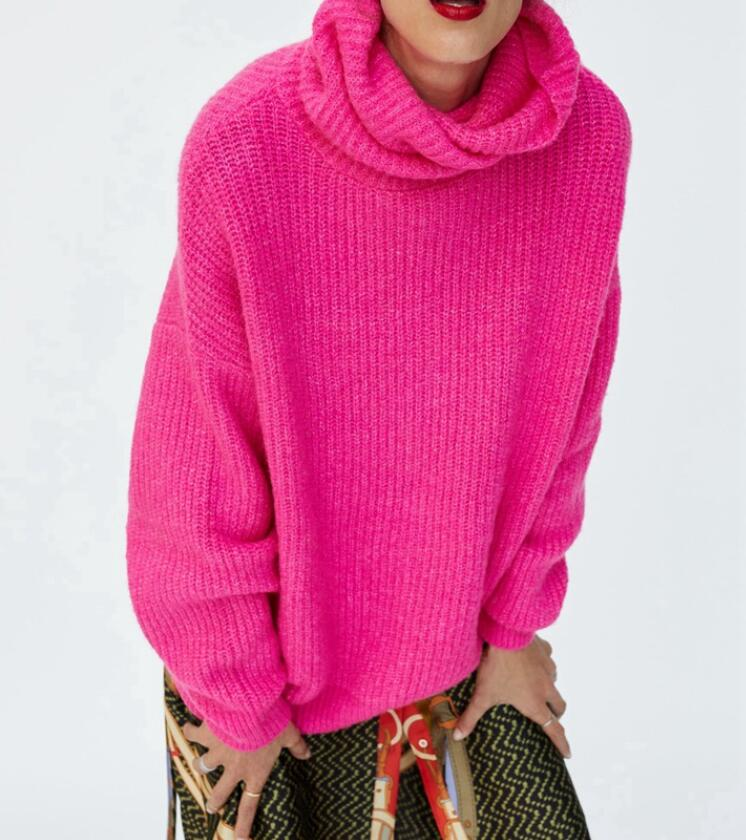 Fluorescente Wishbop Hombro Up Gota fucsia 2018 Roll Verde verde Punto Knit Larga Turtleneck Manga Oscuro Colores Oversized Gris Suéteres 86r08x