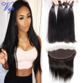 8A Peruvian Virgin Hair Straight 13x4 ear to ear Lace Frontal Closure With Bundle vip beauty Peruvian Straight hair with Frontal