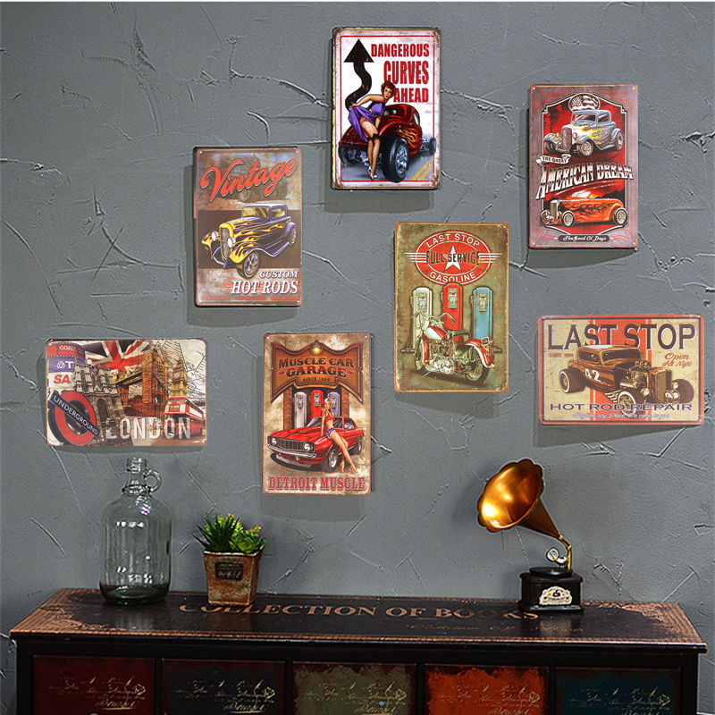 Kovové Vintage plechové cedule Garáž Motocykl Kolo Retro Rustikální krčma Domácí Garáž Dekor řemesla Nástěnná deska Dekor