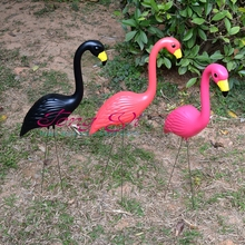 1 pair plastic pink Flamingo Garden courtyard landscape decoration wedding party grass decor jagermeister models Art ornament