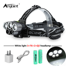ANJOET 5 led headlamp head lamp headlight XML-T6 Q5 15000 lumens powerful led flashlight torch + 18650 battery + USB cable