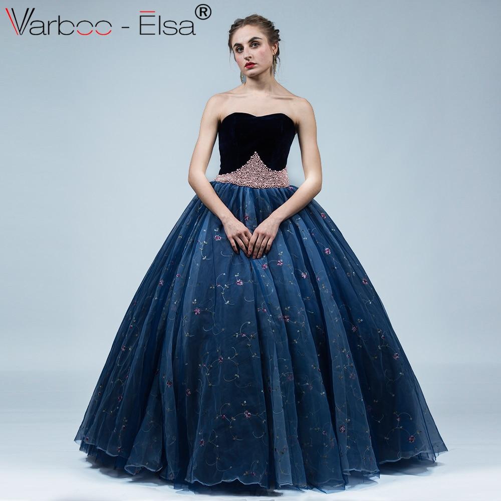Aliexpress.com   Buy VARBOO ELSA Elegant Sweetheart Evening Dress 2018 Navy  Blue Ball Gown Luxury Pearl Beaded Embroidery Prom Dress vestido de festa  from ... 8d39307b4eb0