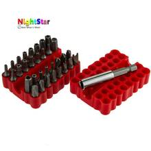33pc Assorted SECURITY TAMPER PROOF POWER BIT SET with CASE Torque star flat NEW 2017