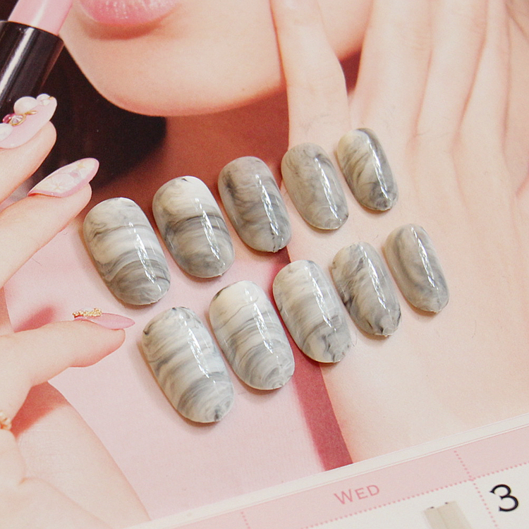 Ink style marble pattern false nails french pure color fake nails ...