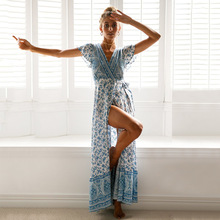 Summer V-neck Bohemian Split Printed Long Beach Dress Women 2018 Holiday Ruffles Short Sleeve Print Dresses Womens