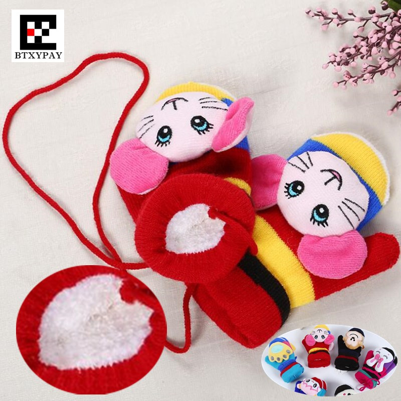 240p Children Winter Plus Imitation Cashmere Keep Warm Knitted Gloves,Boys And Girls Unisex Cute 3D Cartoon Hanging Neck Mittens