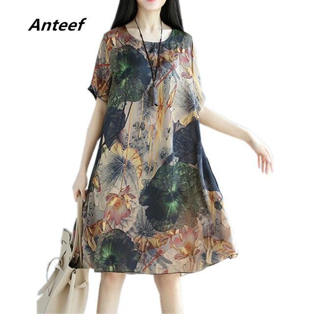 Chiffon vintage floral de talla grande mujer casual suelta midi verano Sol vestido elegante ropa 2020 vestidos de mujer vestido de verano