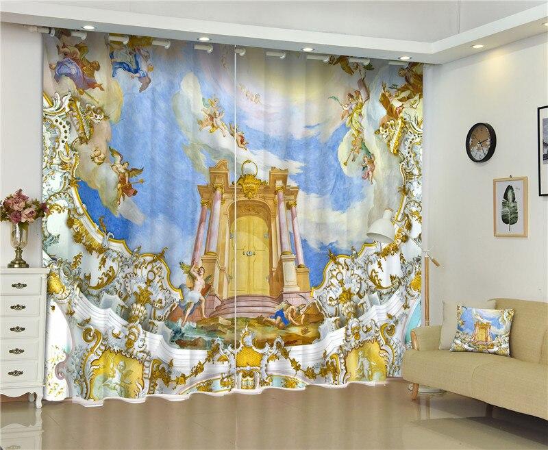 Rideaux De fenêtre occultants peintures murales exquises rideaux 3D pour la literie salon hôtel rideaux Cortinas De Sala