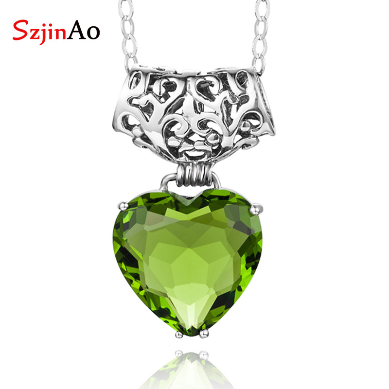 SzjinAo Heart Shape Peridot Pendant Solid 925 Sterling Silver August Birthstone Vintaga Engagement Party Gift Women AccessoriesSzjinAo Heart Shape Peridot Pendant Solid 925 Sterling Silver August Birthstone Vintaga Engagement Party Gift Women Accessories