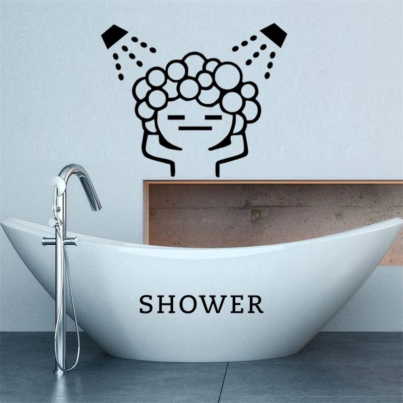 Creative Baby Love Shower Bubble Wall Stickers For Bathroom Sliding Door Waterproof Glass Shower