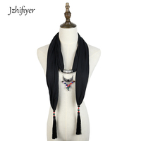 a9627b77fc8 Pendant Scarf Necklace Jewellery Neckwear Viscose Cotton Spring Shawl Hijab  Pareo Fashion Bandana Scarf Women Femme