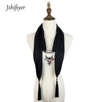 Jzhifiyer Pendant Scarf Necklace Jewellery Neckwear Viscose Cotton Spring Shawl Hijab Pareo Fashion Bandana Scarf Women