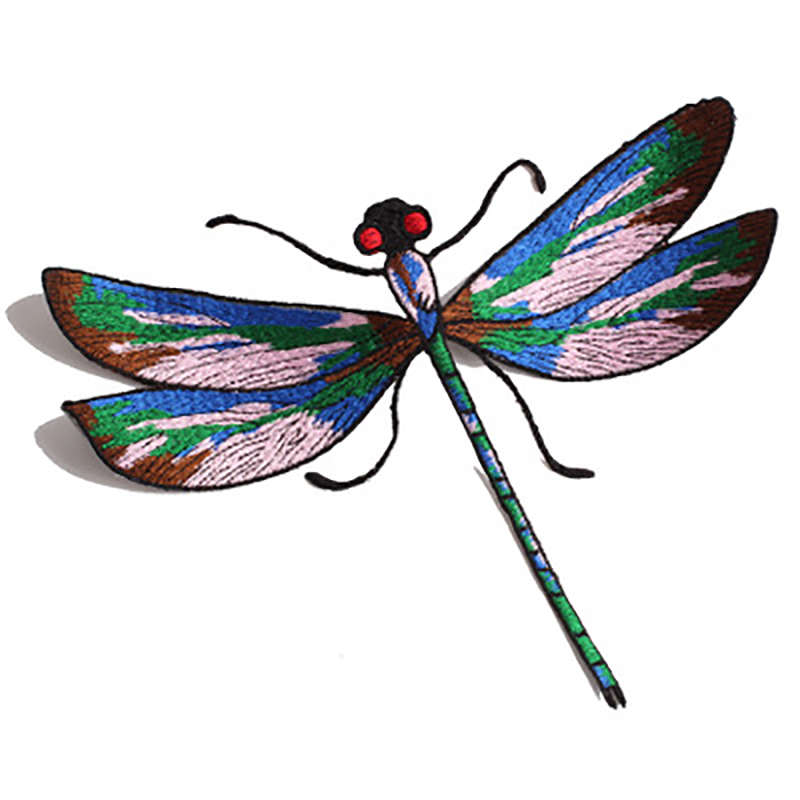 1Pcs Big Beautiful Dragonfly Embroidered Patch Applique Iron on Patches for Clothing DIY Fashion