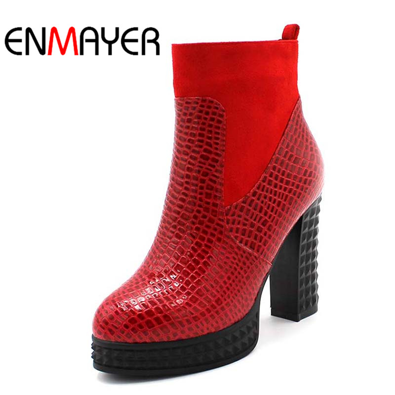 ENMAYER New Women High Boots Sexy Round Toe Ankle Boots Winter Shoes Zip Platform Martin Boots Black Red Blue enmayer new zip buckle women boots high heels shoes round toe shoes women platform cheap winter boots big size34 46 martin boots